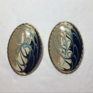 Jewelry - Vintage enamel Swirl Earrings blue tan ivory
